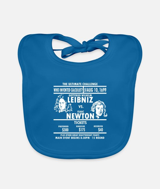 Competition Baby Bibs - Leibniz Vs. Newton math mathematician gift - Baby Bib peacock-blue