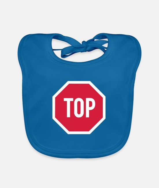Red Baby Bibs - TOP sign - Baby Bib peacock-blue