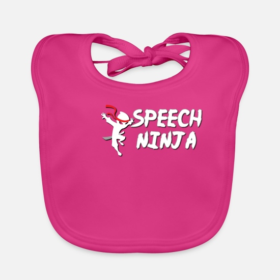 Voice Baby Clothes - Funny and Cool Ninja Design - Baby Bib fuchsia