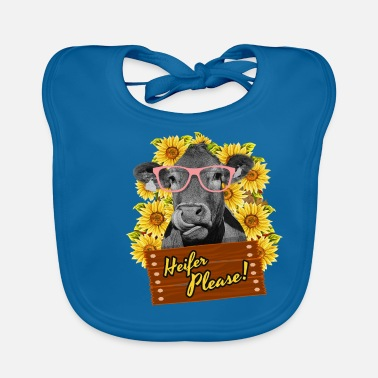 Farmer Heifer Please Funny sunflower cow glasses - Baby Bib