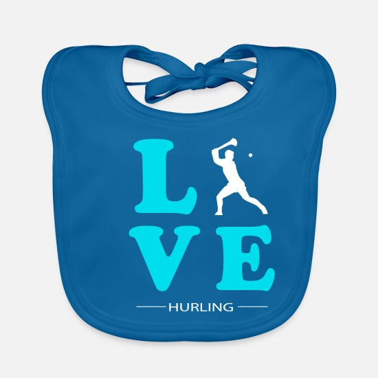 Sports Baby Clothes - HURLING LOVE - Baby Bib peacock-blue