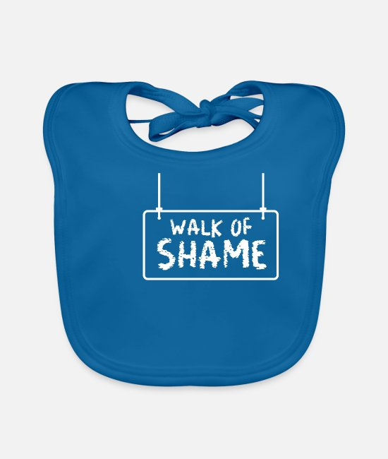 Meme Baby Bibs - Halloween Sexy Walk Of Shame Party Joke Gifts - Baby Bib peacock-blue