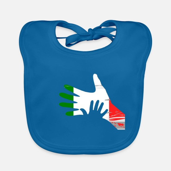 Christmas Baby Clothes - Daddy Child Hands Fathers Day Retro Gift Idea - Baby Bib peacock-blue