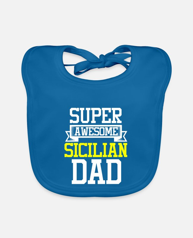 Proud Baby Bibs - Super Awesome Sicilian Dad Country Pride - Baby Bib peacock-blue