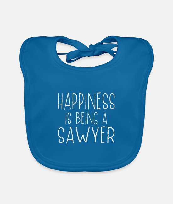 Cuba Baby Bibs - Happiness Is Sawyer Last Name Surname Pride - Baby Bib peacock-blue