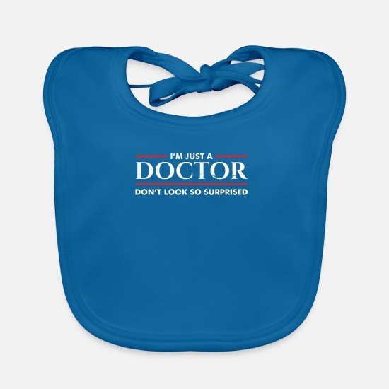 Doctor Baby Clothes - Doctor surprised - Baby Bib peacock-blue