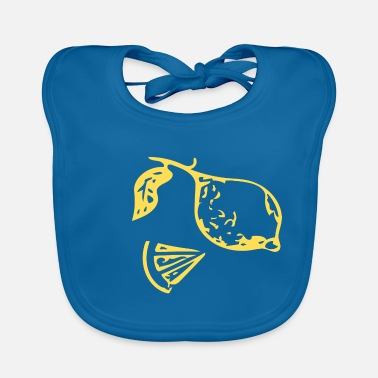 Feather Abstract lemon / line / gold / pattern / nature - Baby Bib