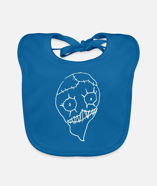 Hipster Baby Bibs - Undead zombie head - Baby Bib peacock-blue