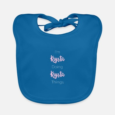 Initial Krysta Personalized Name Gift Woman Girl Pink - Baby Bib
