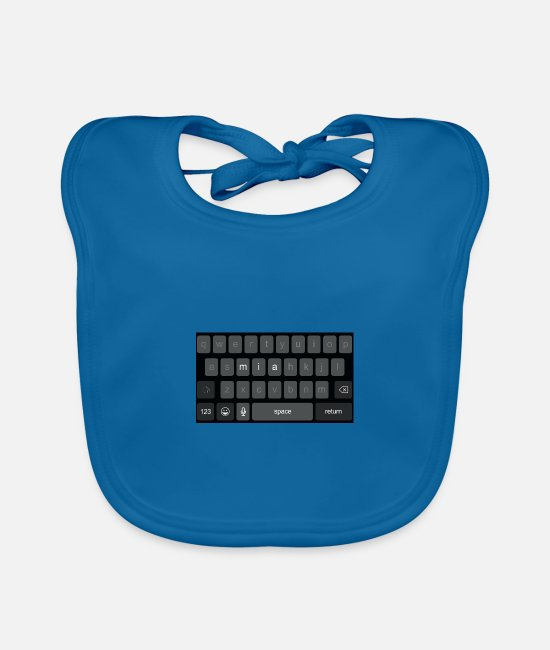 Print Baby Bibs - Keyboard name Mia - Baby Bib peacock-blue