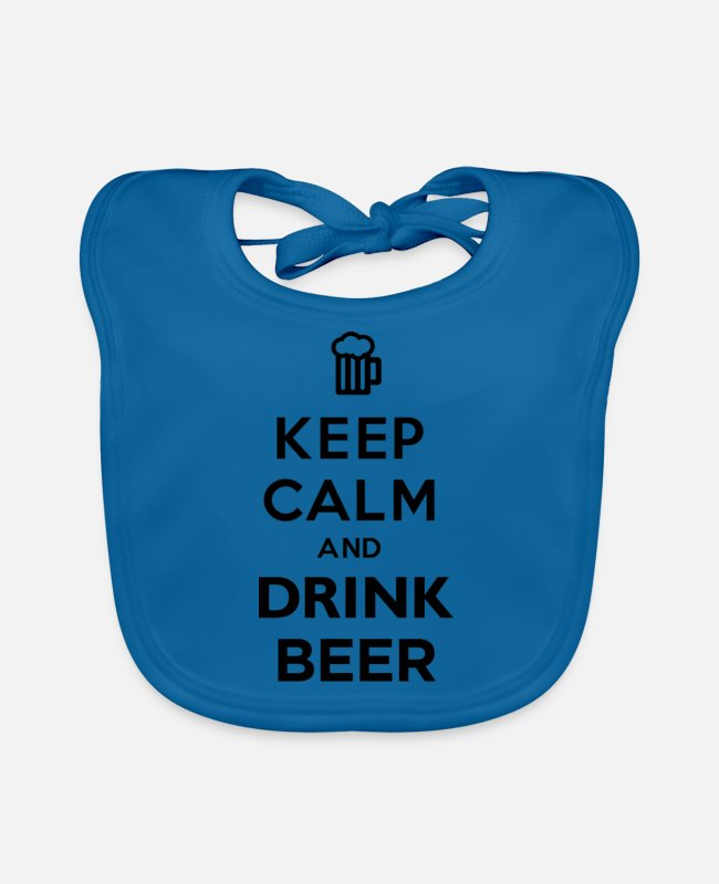 Keep Calm Baby Bibs - Keep Calm And Drink Beer - Baby Bib peacock-blue