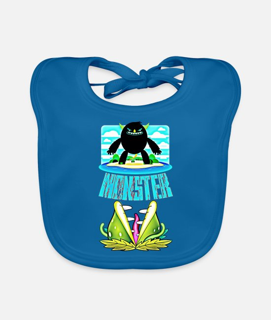 Water Baby Bibs - monster - Baby Bib peacock-blue