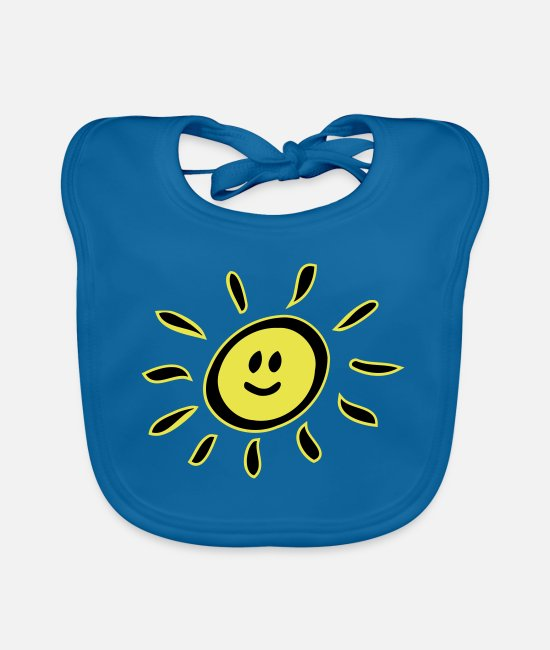 Not In The Mood Baby Bibs - Smiley sun - Baby Bib peacock-blue
