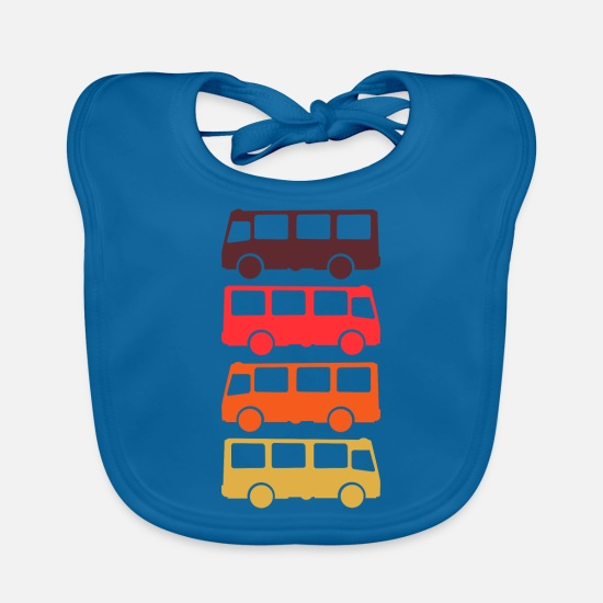 Birthday Present Baby Clothes - Bus Transporter Retro - Baby Bib peacock-blue