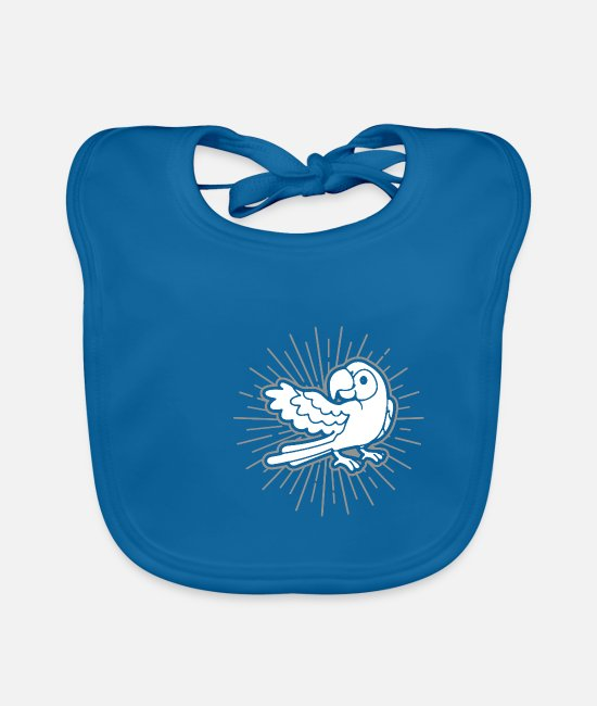 Mummy Baby Bibs - Parrot bird holder gift idea - Baby Bib peacock-blue