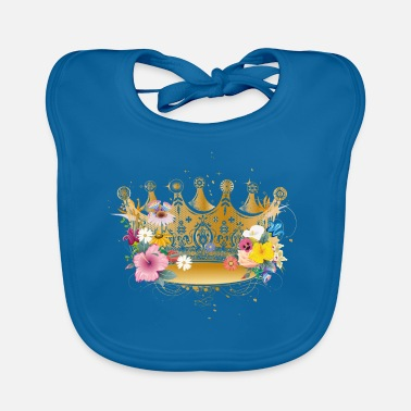 Golden Crown Golden crown with flowers - Baby Bib