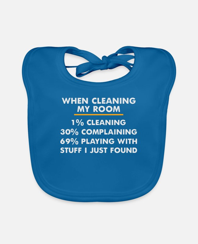 Housekeeping Baby Bibs - Cleaning Funny Cleaner housekeeping Housewife Joke - Baby Bib peacock-blue