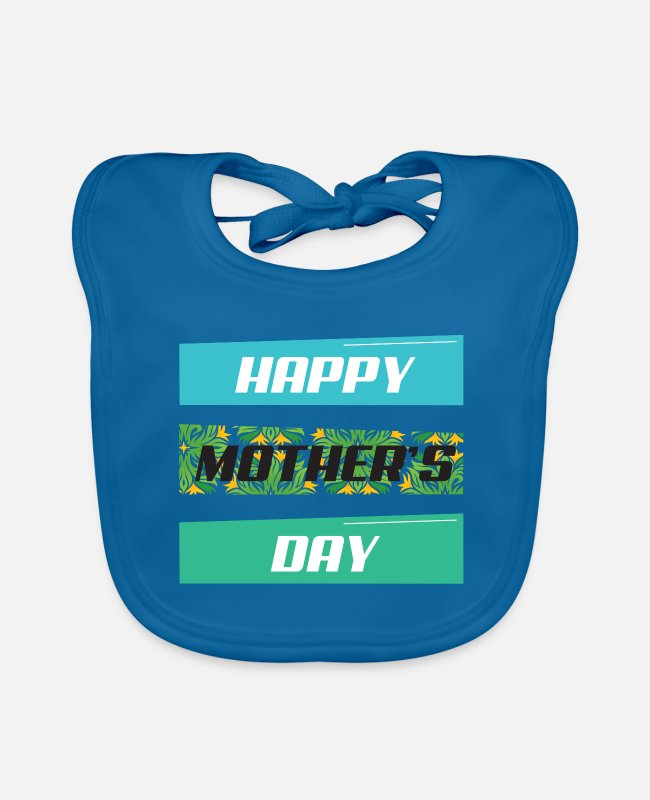 Mummy Baby Bibs - Mother's Day Motif Tee Shirt 147 - Baby Bib peacock-blue
