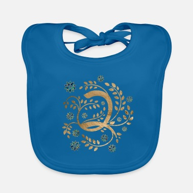 Gold Luxury Golden Calligraphy Monogram with letter Q - Baby Bib