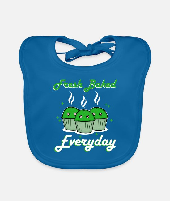 Funny Pictures Baby Bibs - Fresh Baked Everyday Cannabis Weed Marijuana Hemp - Baby Bib peacock-blue