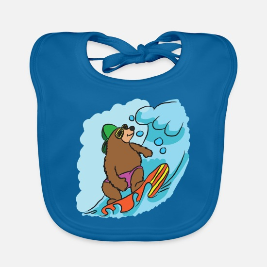 Surfing Baby Clothes - surfing - Baby Bib peacock-blue