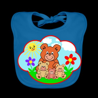 Four funny teddy bears on the meadow gift - Baby Organic Bib