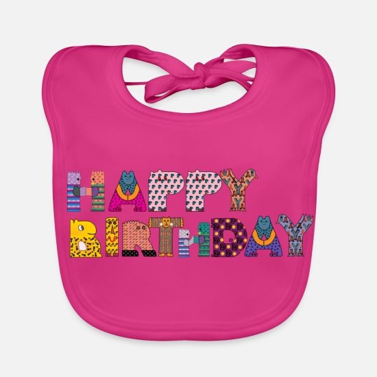 Birthday Baby Clothes - happy Birthday - Baby Bib fuchsia