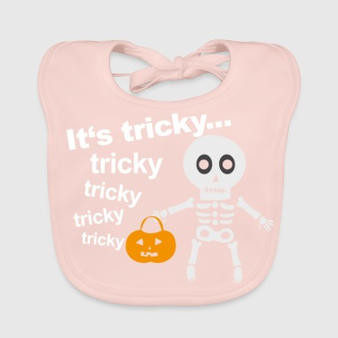 tricky skeleton with pumpkin lantern - Baby Organic Bib
