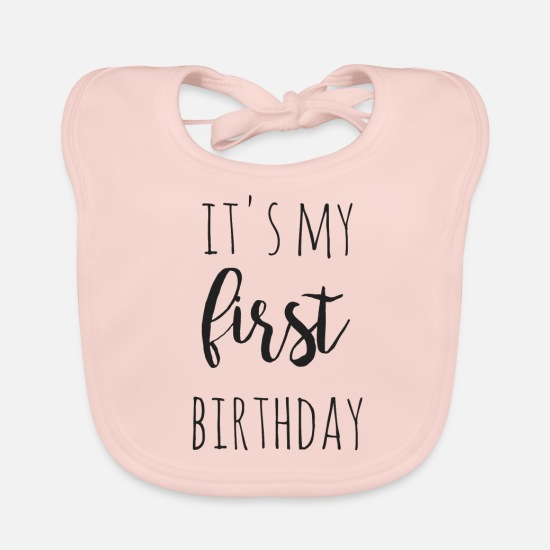 Geburtstag Babykleidung - it s my first birthday - Lätzchen Rose