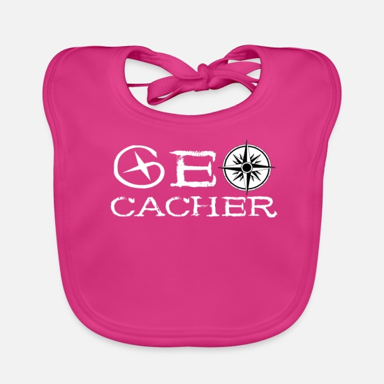 Travel Baby Clothes - Geocacher Treasure Hunt Scavenger Hunt coordinates - Baby Bib fuchsia