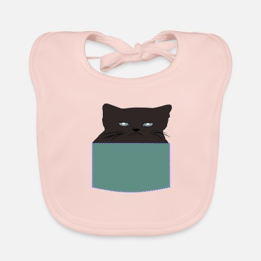 Daddy-to-be Cat Face Cat Bag Black Cat Animal Cute - Baby Organic Bib