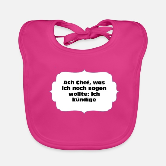 Career Baby Clothes - Announce the boss - Baby Bib fuchsia