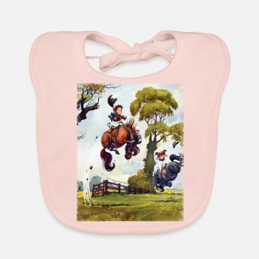 Officialbrands PonyRodeo Thelwell Cartoon  - Baby Organic Bib