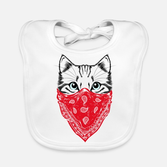 Catholic Baby Clothes - Hipster Cat - Baby Bib white