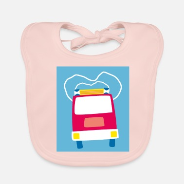 Streaker lalülala fire department car - Baby Organic Bib