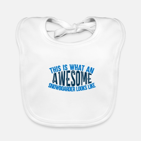 Boarders Baby Clothes - Awesome Boarder - Boarder Power - Baby Bib white