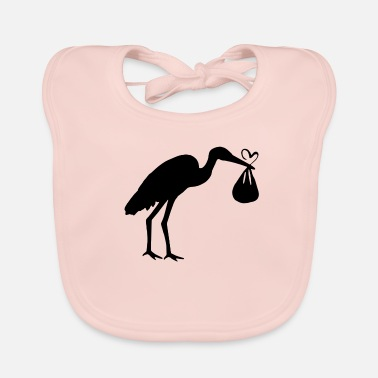Toddler Stork with toddler and heart - Baby Bib