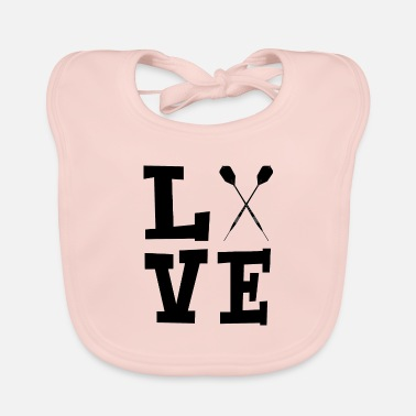 Dartboard Love with darts black - Baby Organic Bib