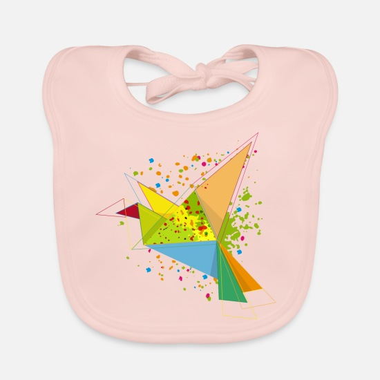 Graffiti Baby Clothes - A colorful origami bird - Baby Bib rose