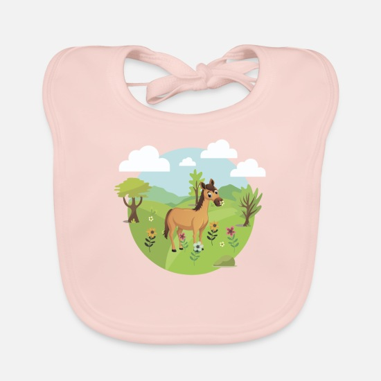 Birthday Baby Clothes - Horse pony on flower meadow Girl women babies - Baby Bib rose
