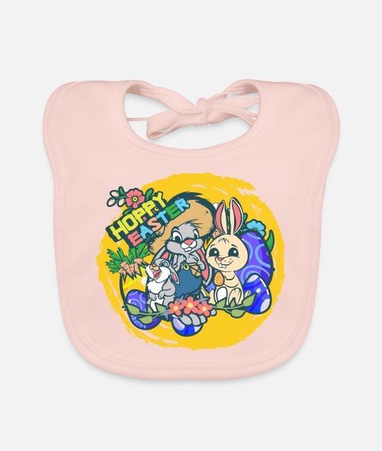 Easter Baby Clothes - Hoppy Easter bunnies - Baby Bib rose