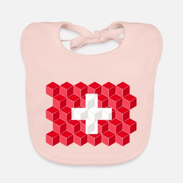 Cube Switzerland National Flag - cube 3D - Baby Bib