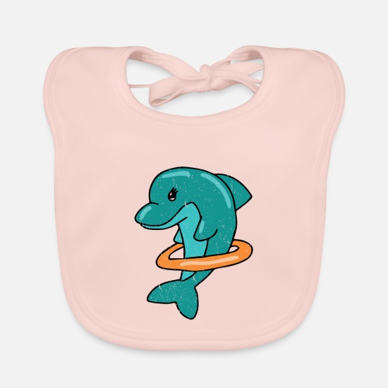 Shark Baby Clothes - Dolphin with Swim Ring Vintage Style Vacation - Baby Bib rose