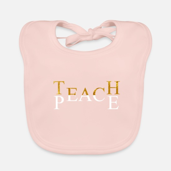 Birthday Baby Clothes - Teach Peace - Baby Bib rose