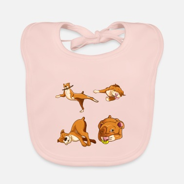 Boxer Boxer dog pit bull - four funny dogs - Baby Bib