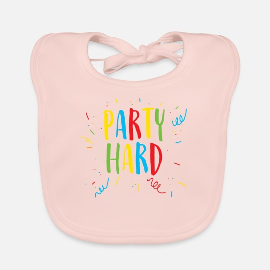 Birthday Baby Clothes - Party Hard / Party Hard - Baby Bib rose