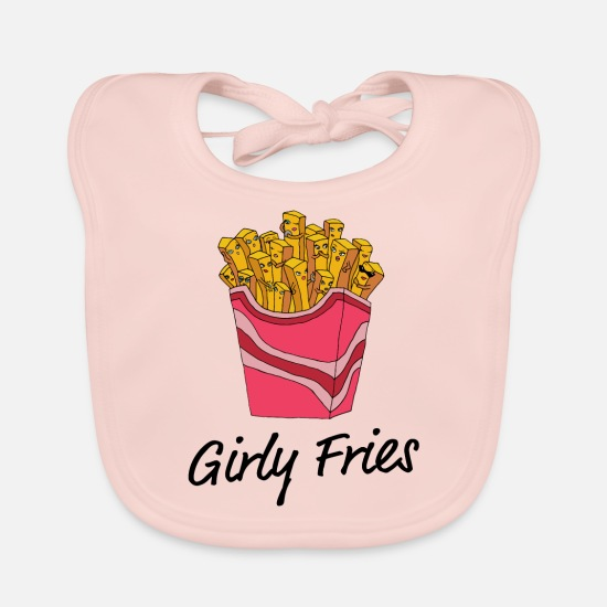 Hipster Baby Clothes - girly Fries - Baby Bib rose