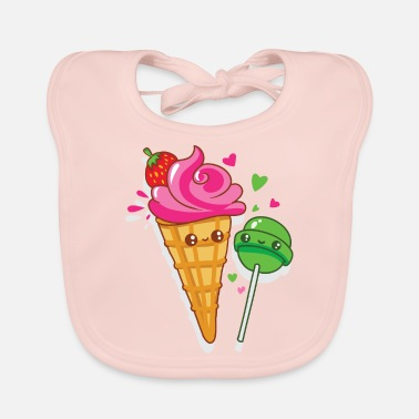 Happy ice cream and lollipops are in love - Baby Bib