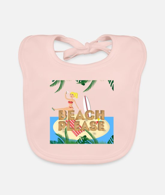 Beach Baby Lätzchen - Beach Please! Blondes Surfergirl - Lätzchen Rose