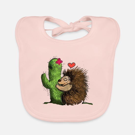 Love Baby Clothes - Hedgehog Cactus International hugging day - Baby Bib rose